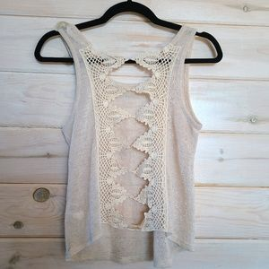 Bluenotes Open Lace Back Tank Top